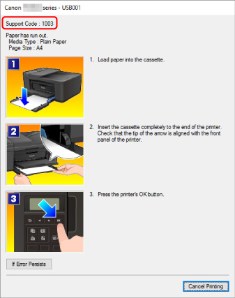 Canon : Inkjet Manuals : TR4500 series : An Error Occurs