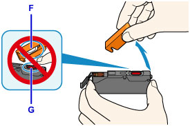Warnings not to touch inside of cap (F) or open ink port (G)